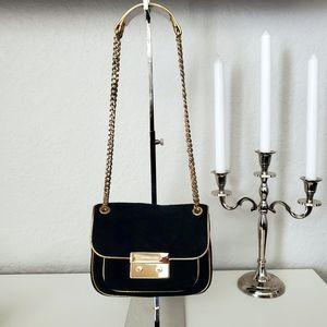 MICHAEL KORS Sloan Black Suede & Gold Flap Bag
